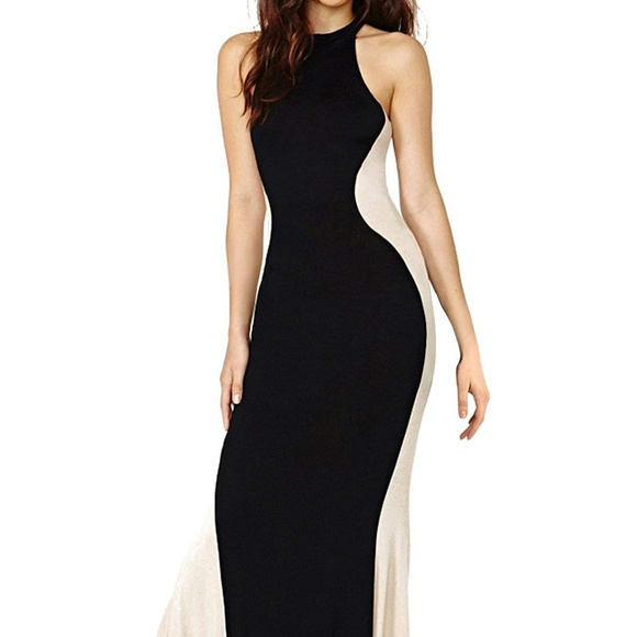 Anni Coco Dresses Stretchy Hourglass Maxi Dress Black And Beige
